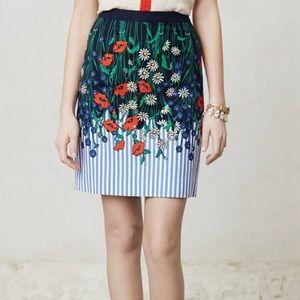 Anthropologie Wildflower Stripe Pencil Skirt